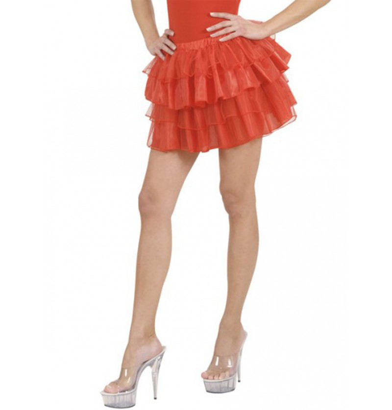 Falda de volantes roja para mujer
