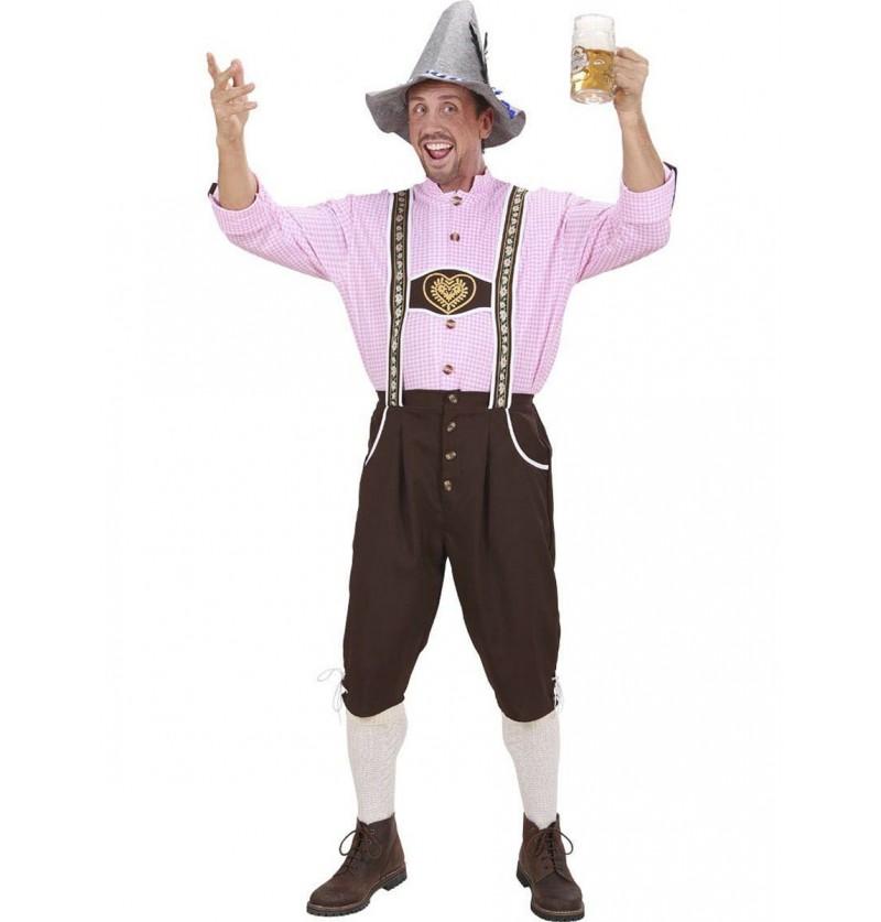 Disfraz de bávaro rosa para hombre