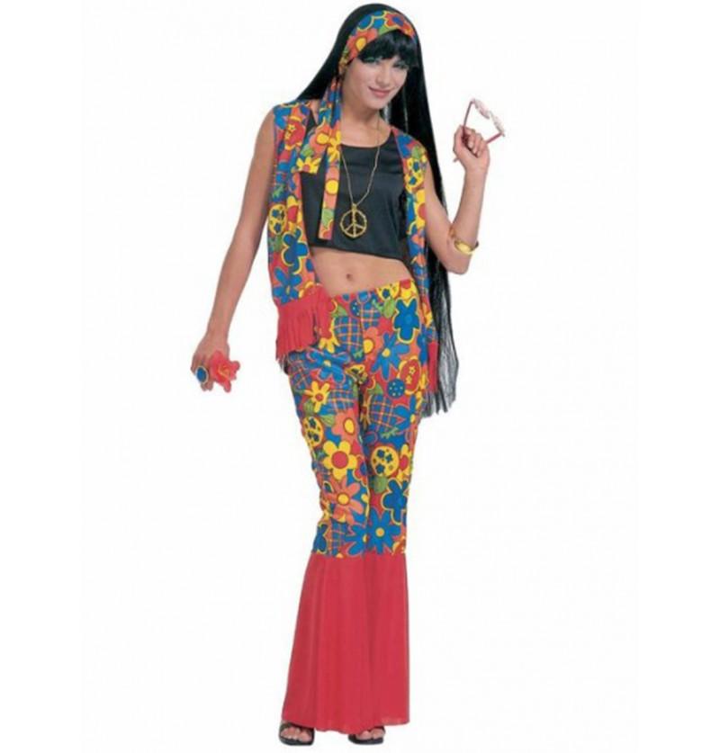 Disfraz de hippie fiestera para mujer
