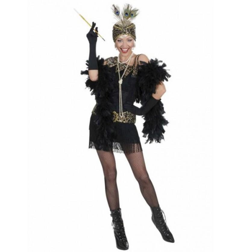 Disfraz de fiesta años 20 negro para mujer