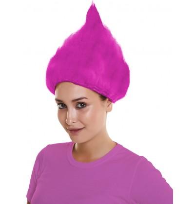 peluca de troll rosa para adulto