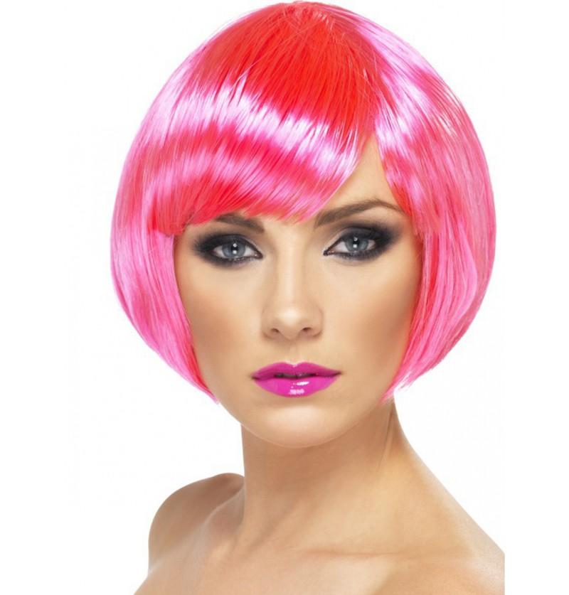 Peluca rosa neón bob con flequillo