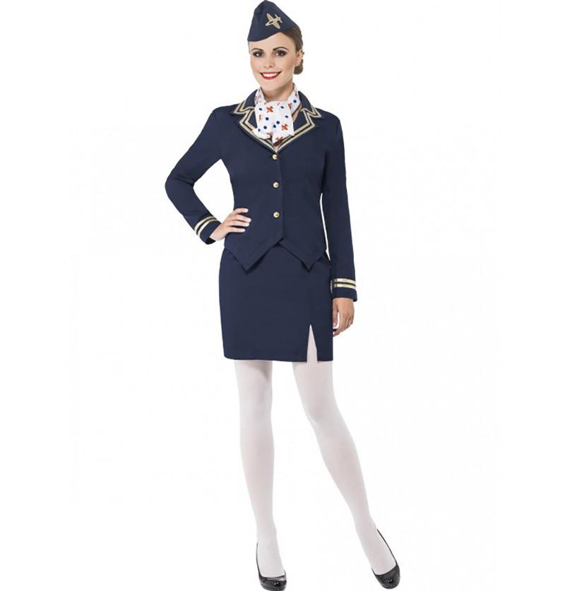 Disfraz de azafata de altos vuelos para mujer