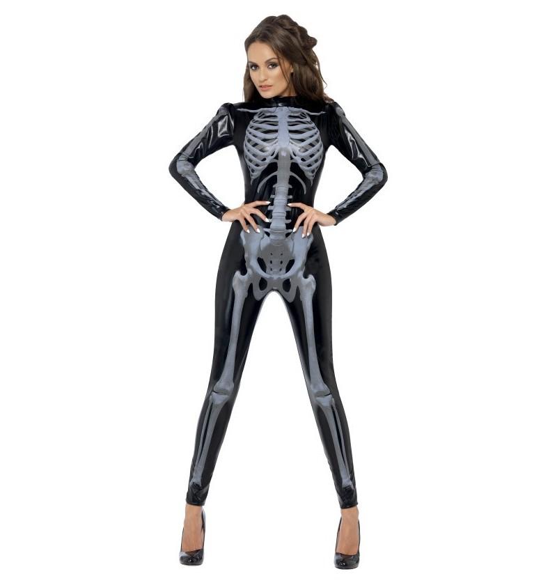 Disfraz de esqueleto Fever segunda piel para mujer