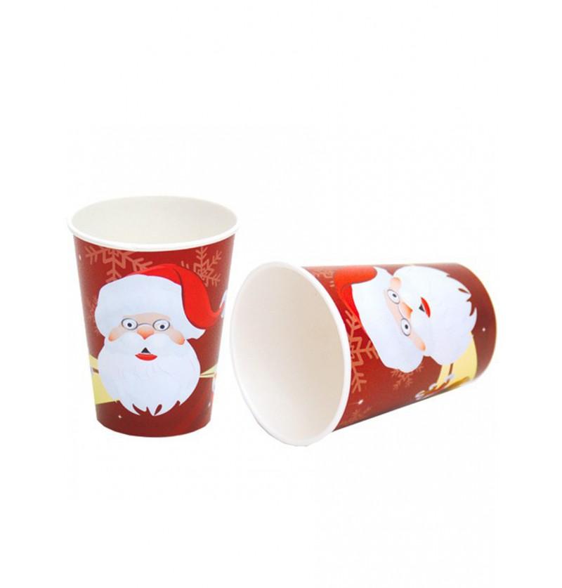 Set de 8 vasos Papá Noel rojo