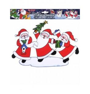 Pegatina para ventana Papás Noeles bailarines