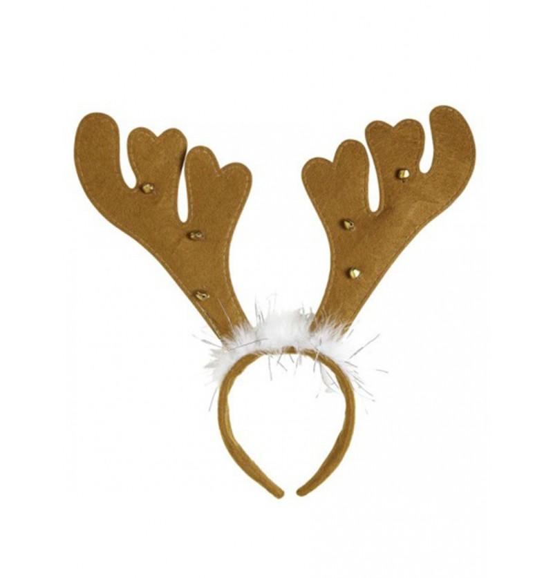 Diadema con cuernos de reno marrón
