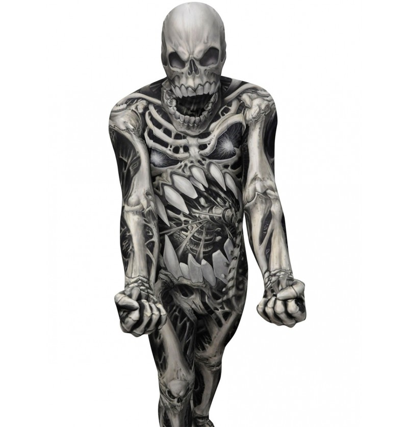 Disfraz de calavera y huesos Monster Collection Morphsuit