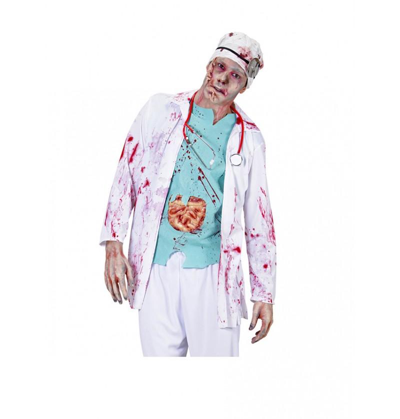 Disfraz de doctor zombie sangriento