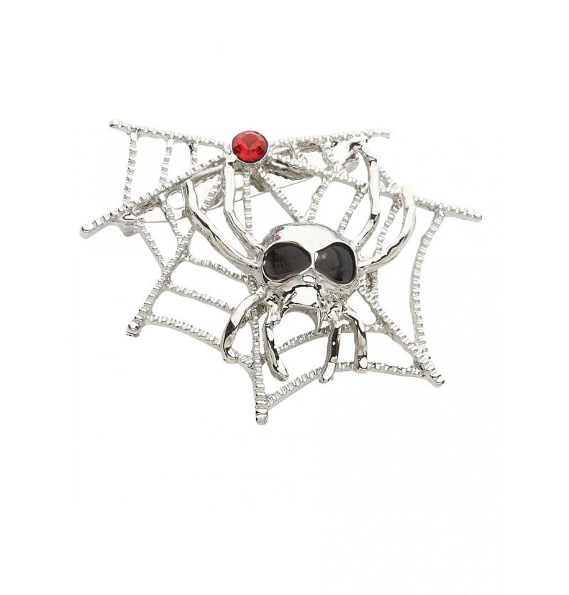 Broche de telaraña con araña calavera