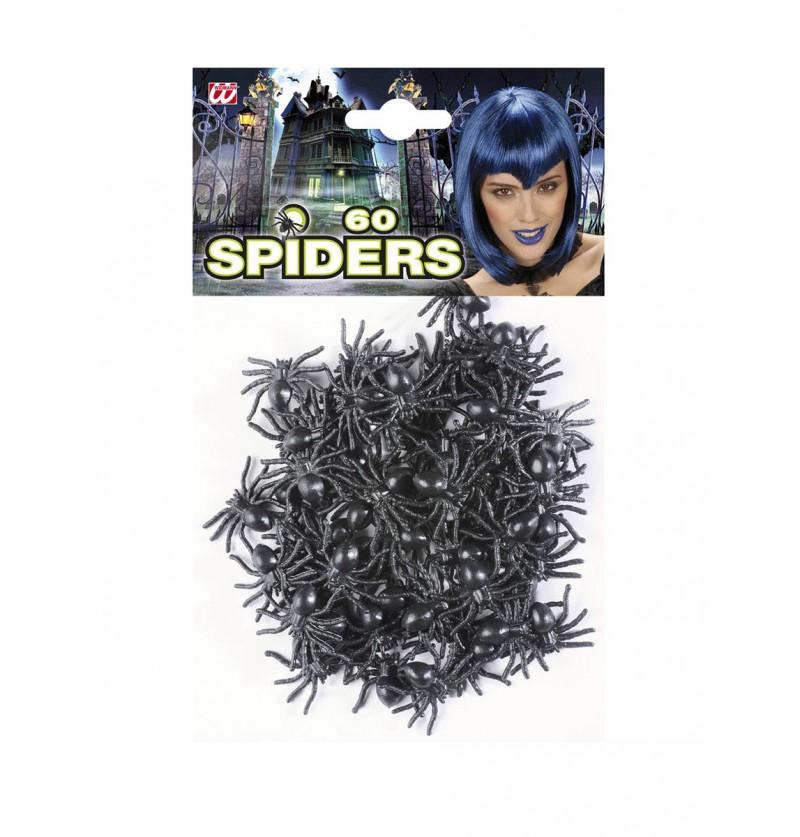 Set de 60 arañas negras