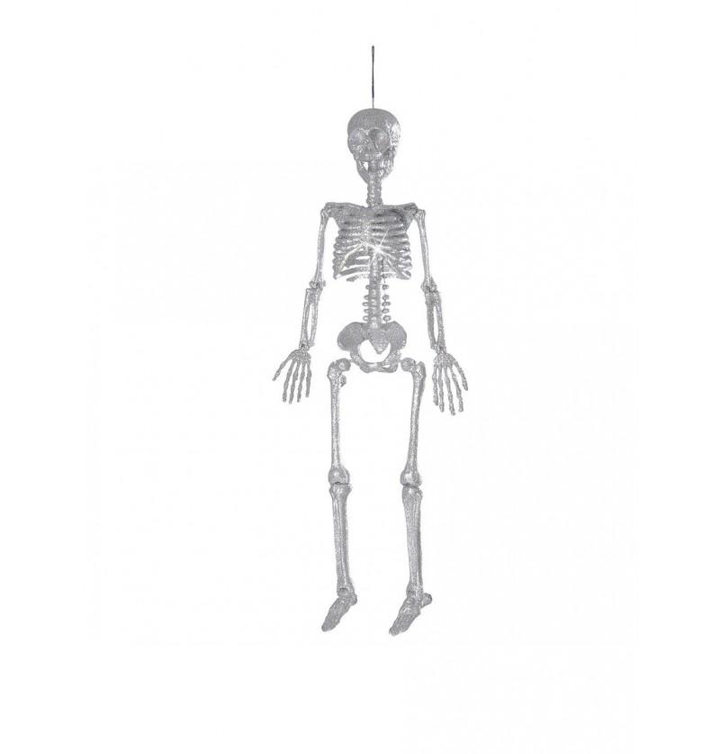 Esqueleto colgante de purpurina plateada