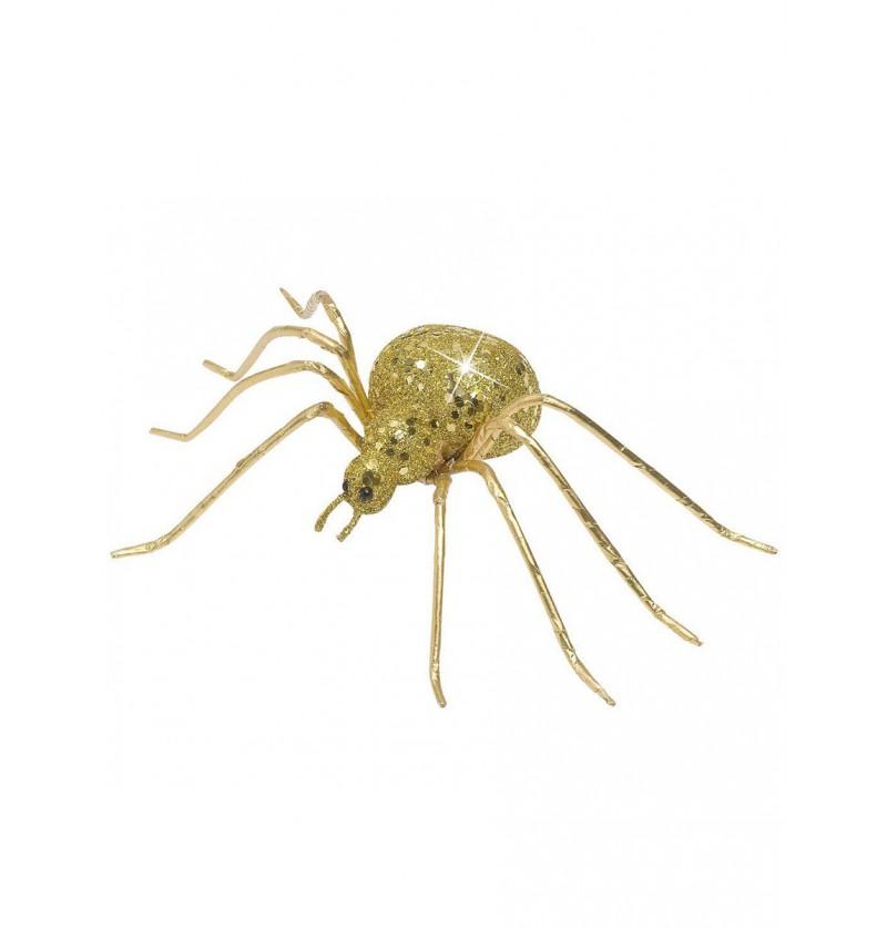 Araña con purpurina dorada