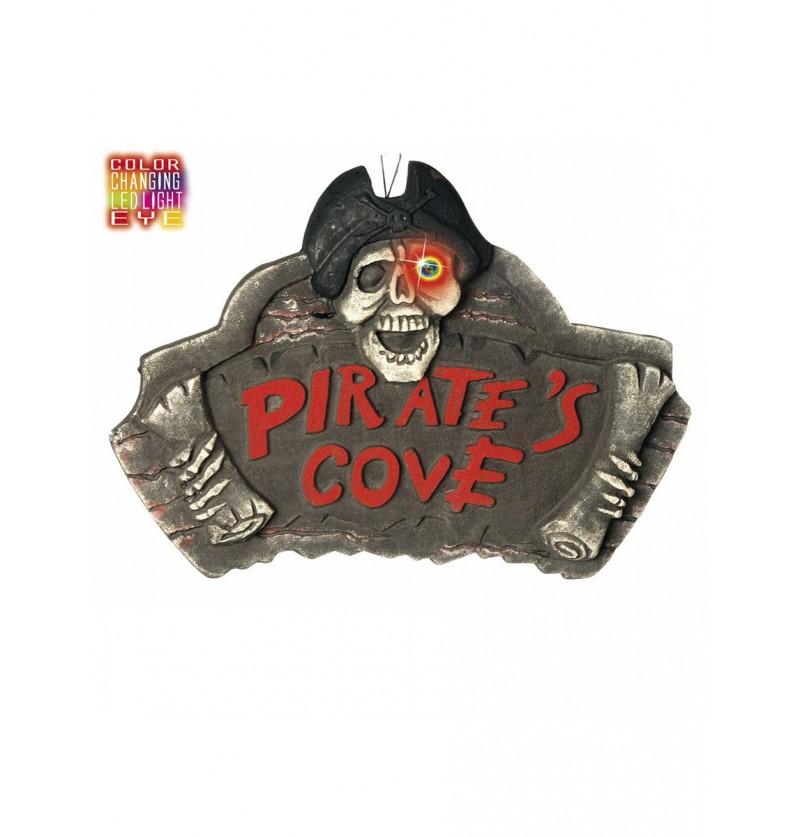 Cartel cueva pirata con ojo de color cambiante
