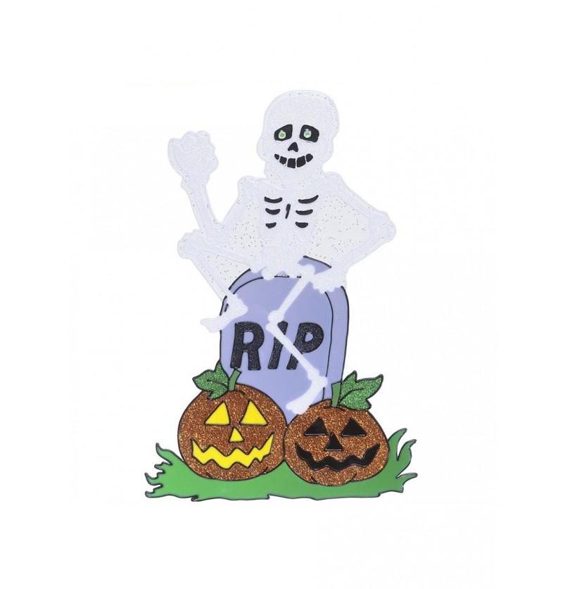 Pegatina para ventana de esqueleto con lápida