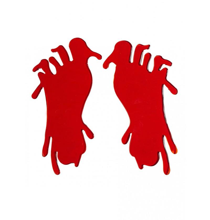 Set de dos pegatinas de pies sangrientos