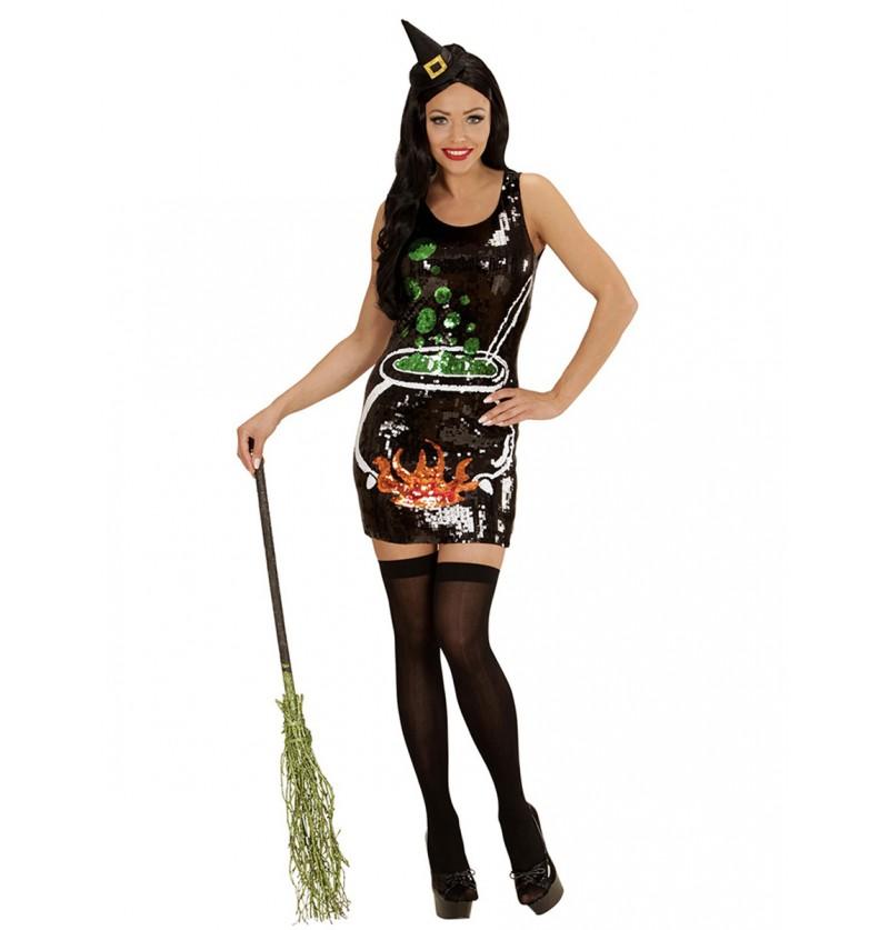Disfraz de bruja mil lentejuelas para mujer