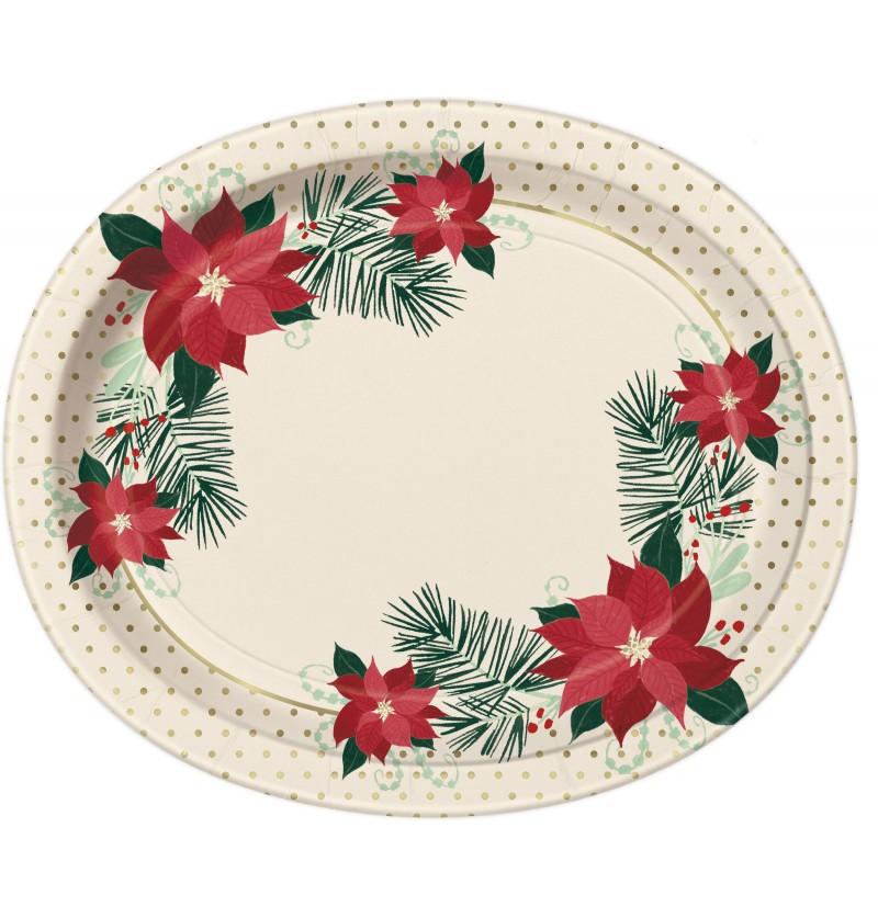 Set de 8 platos ovalados con flores de pascua - Red & Gold Poinsettia