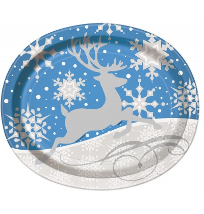 Set de 8 platos ovalados azules con reno plateado - Silver Snowflake Christmas