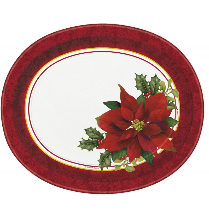 Set de 8 platos ovalados con flor de pascua elegante - Holly Poinsettia