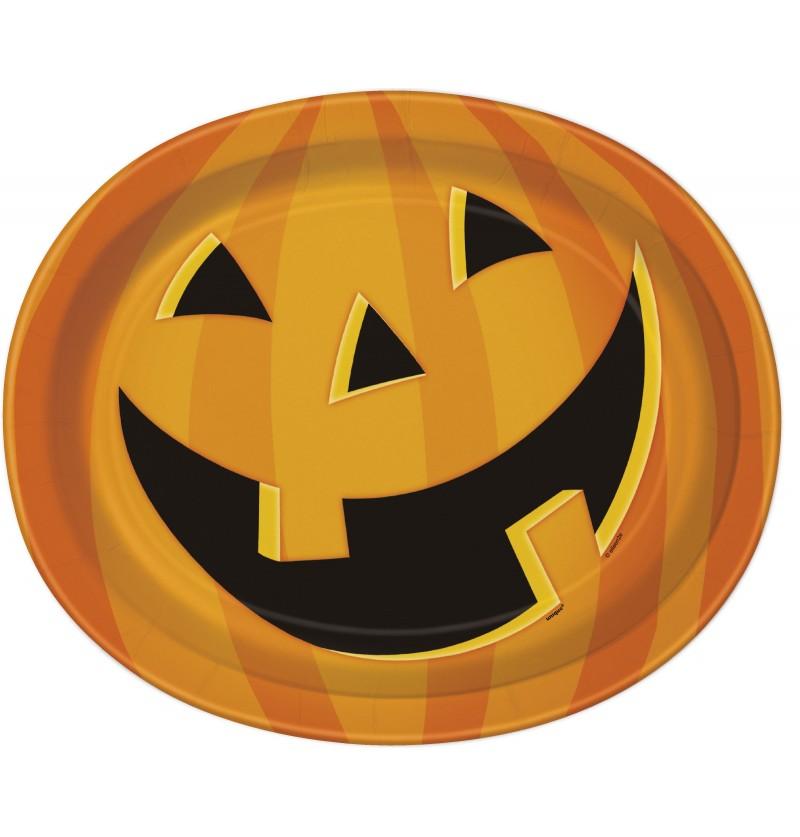 Set de 8 patos ovalados de calabaza sonriente - Smiling Pumpkin
