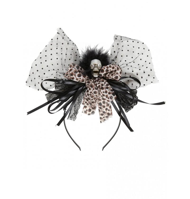 Diadema de calavera glamurosa leopardo