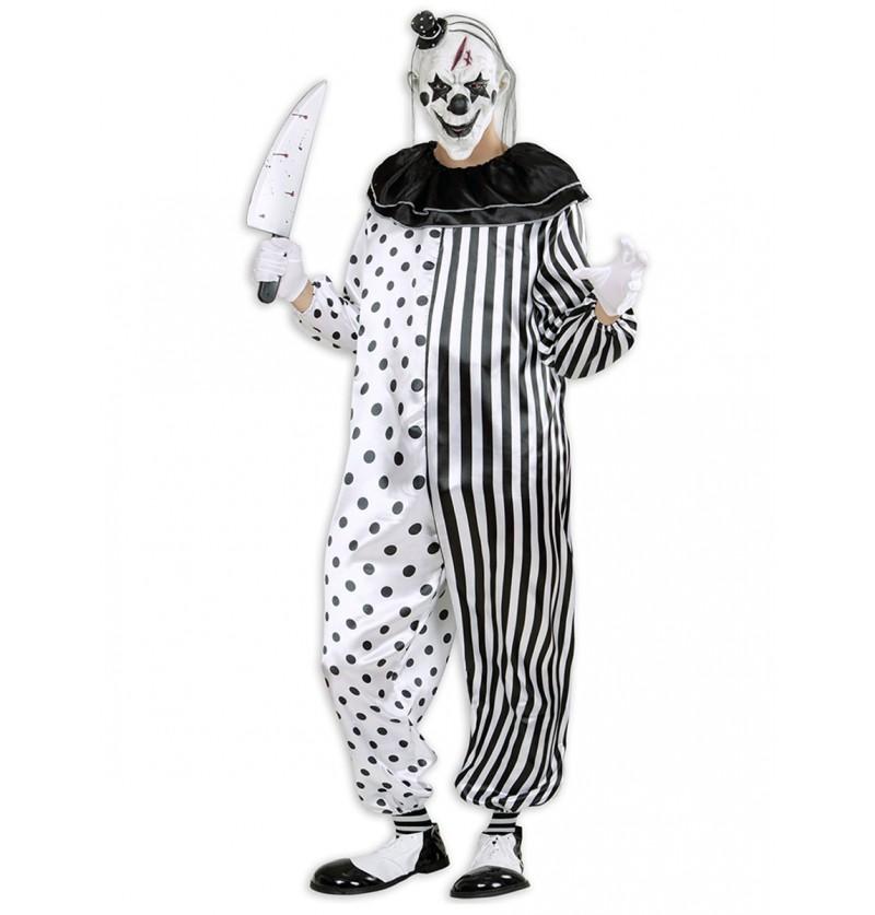 Disfraz de payaso arlequín asesino para hombre