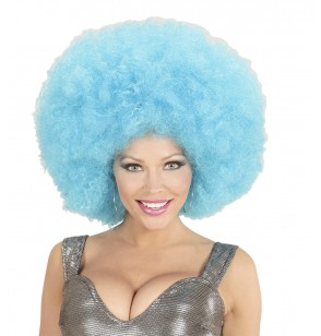 peluca afro azul gigante para adulto