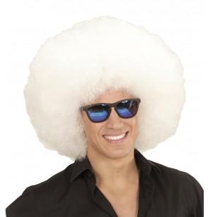 peluca afro blanca gigante para adulto
