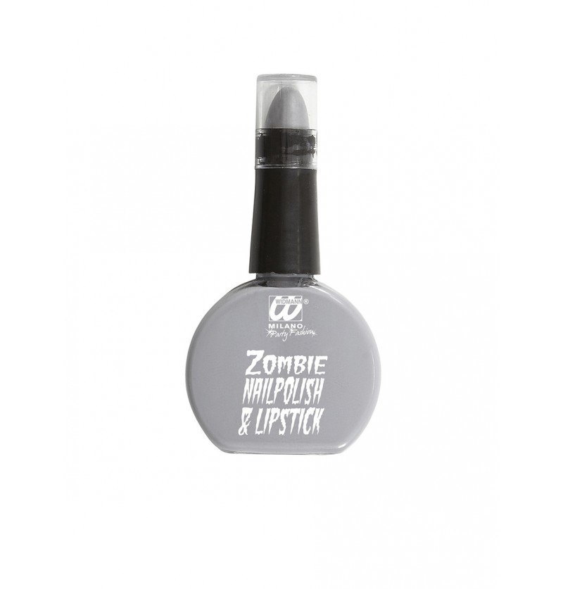 Esmalte y barra de labios gris