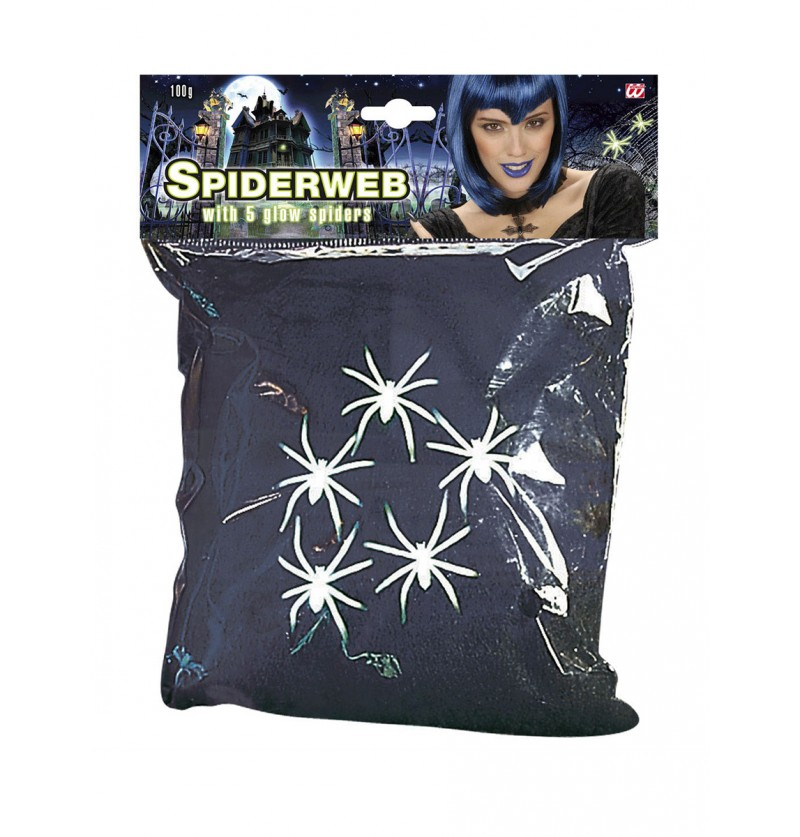 Telaraña negra con arañas fluorescentes