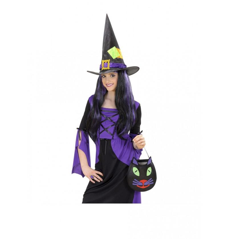 Sombrero de bruja con parches para niña