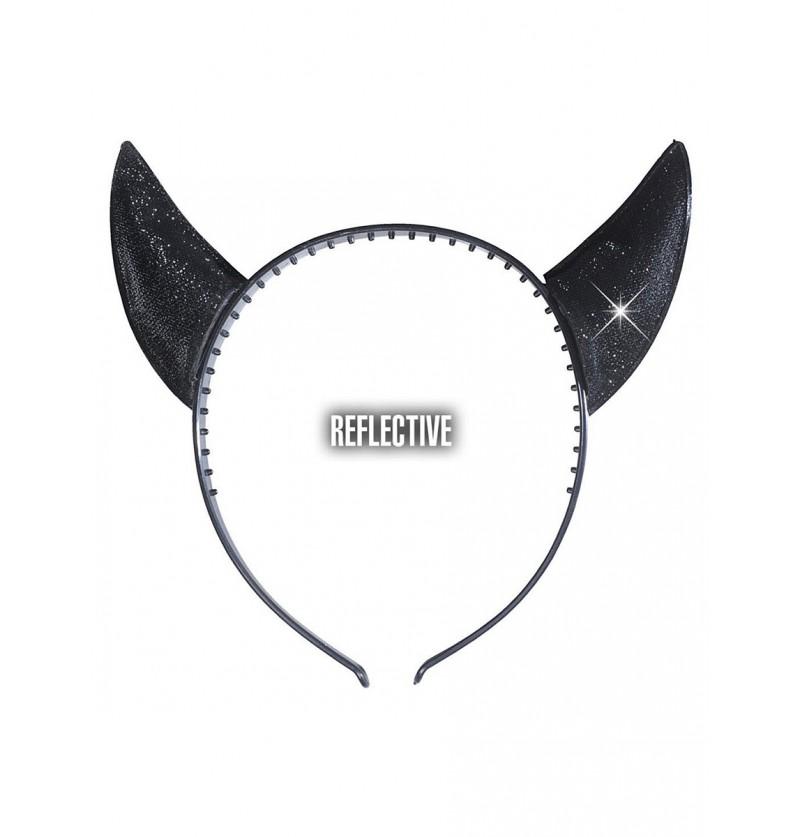 Cuernos reflectantes negros de diablo