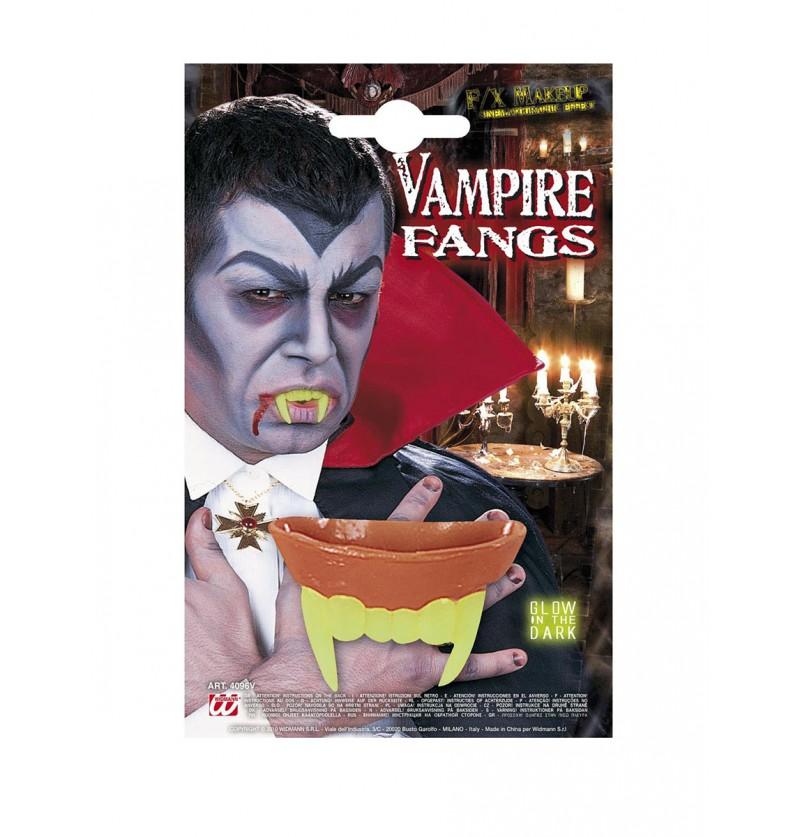 Dientes de vampiro fluorescentes para adulto