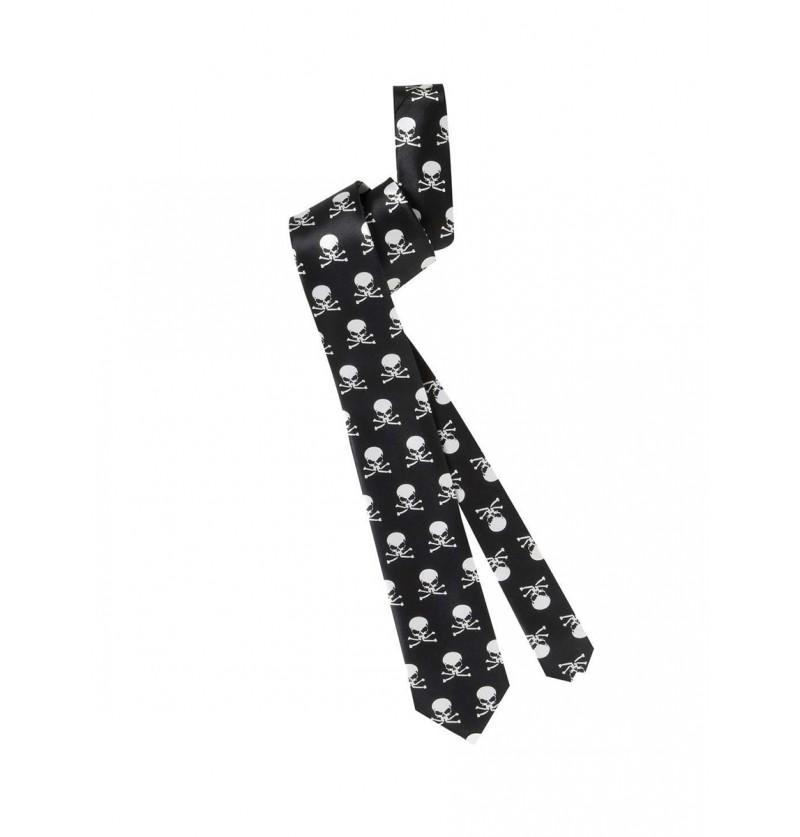 Corbata negra con calaveras