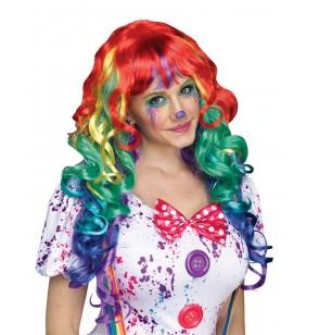 peluca de arcoiris con rizos para adulto