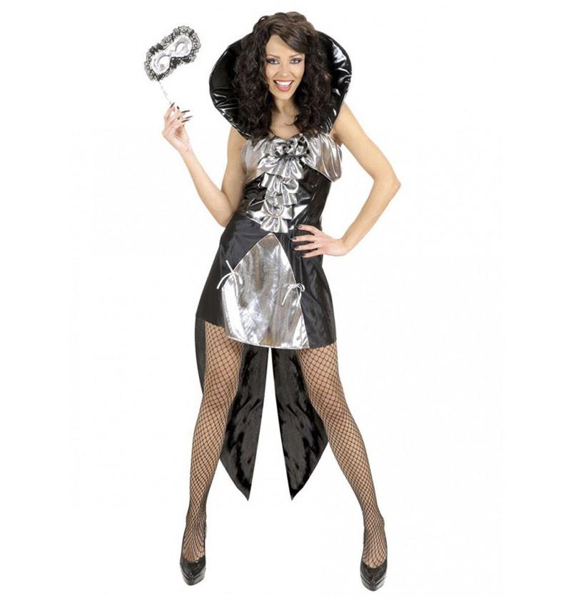 Disfraz de reina gótica plateado para mujer