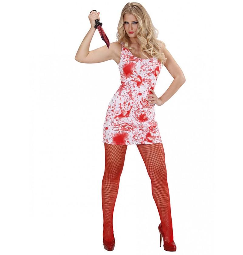 Disfraz de asesina ensangrentada minifaldero para mujer