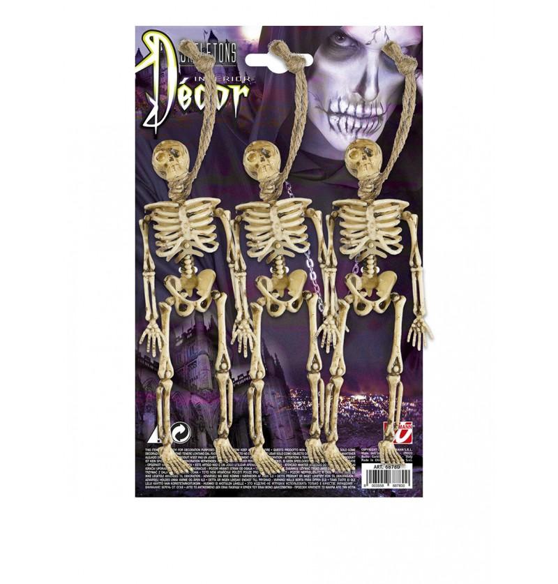 Set de 3 esqueletos colgantes de 15 cm.