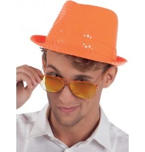 sombrero naranja con lentejuelas para adulto