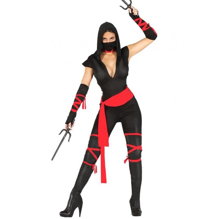 Disfraz de ninja negro para mujer