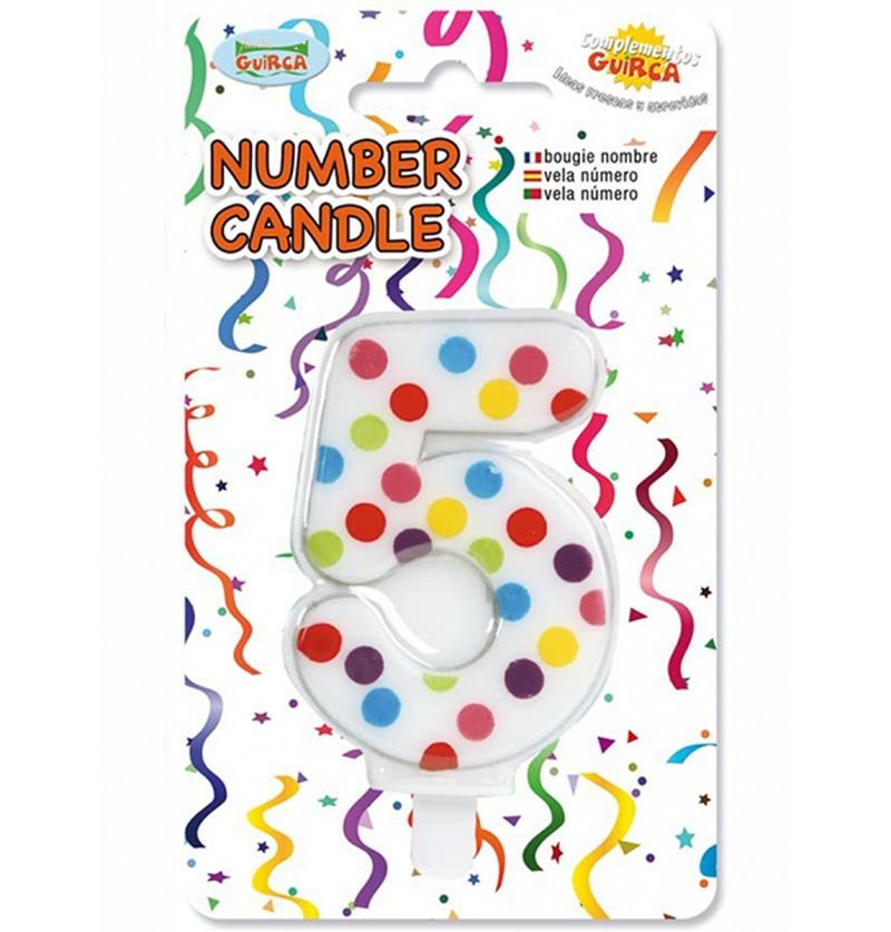 Vela de Cumpleaños Confeti Número 5