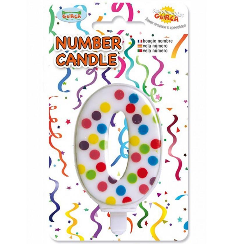 Vela de Cumpleaños Confeti Número 0