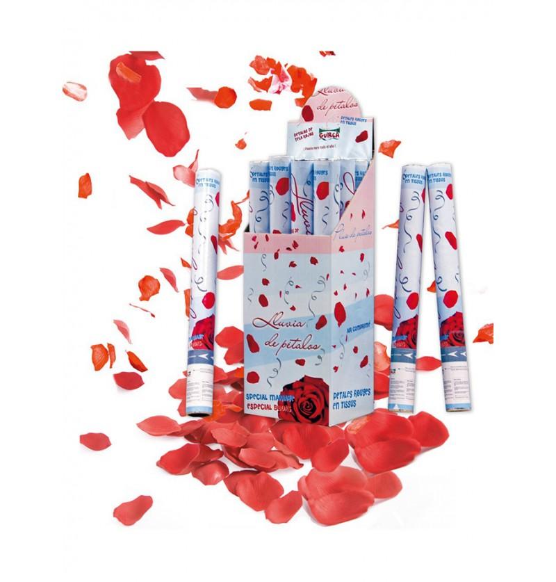 Cañón de Confeti Pétalos de Rosa Rojos 50 cm.
