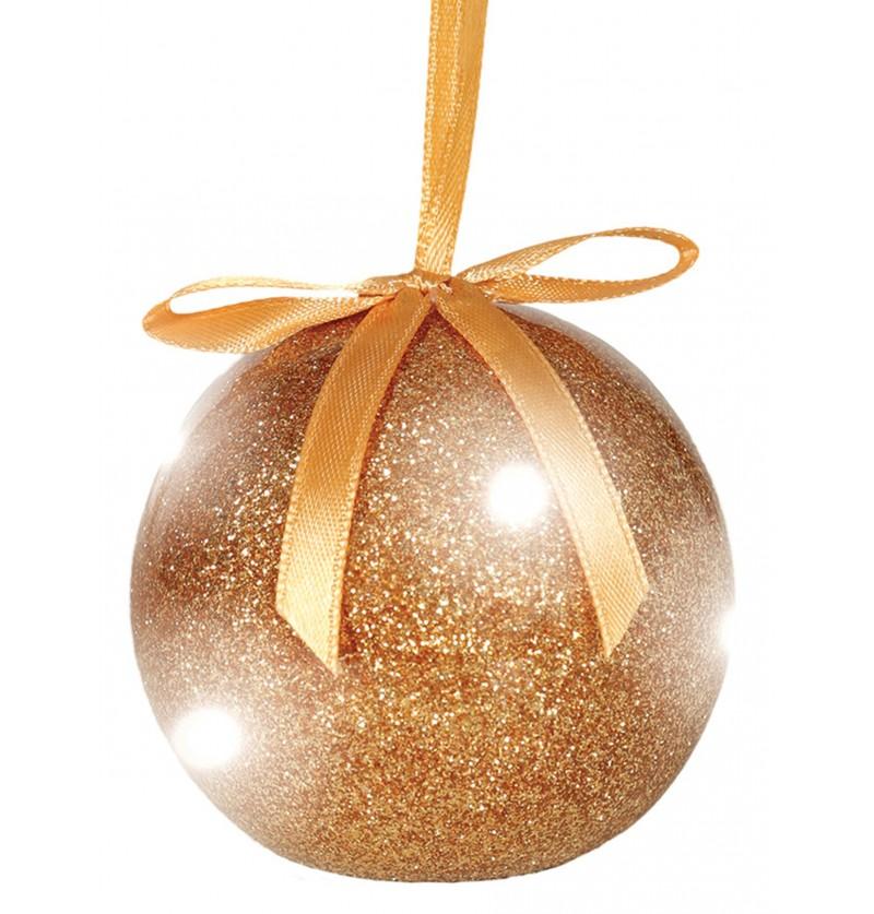 bola navidea dorada con luces