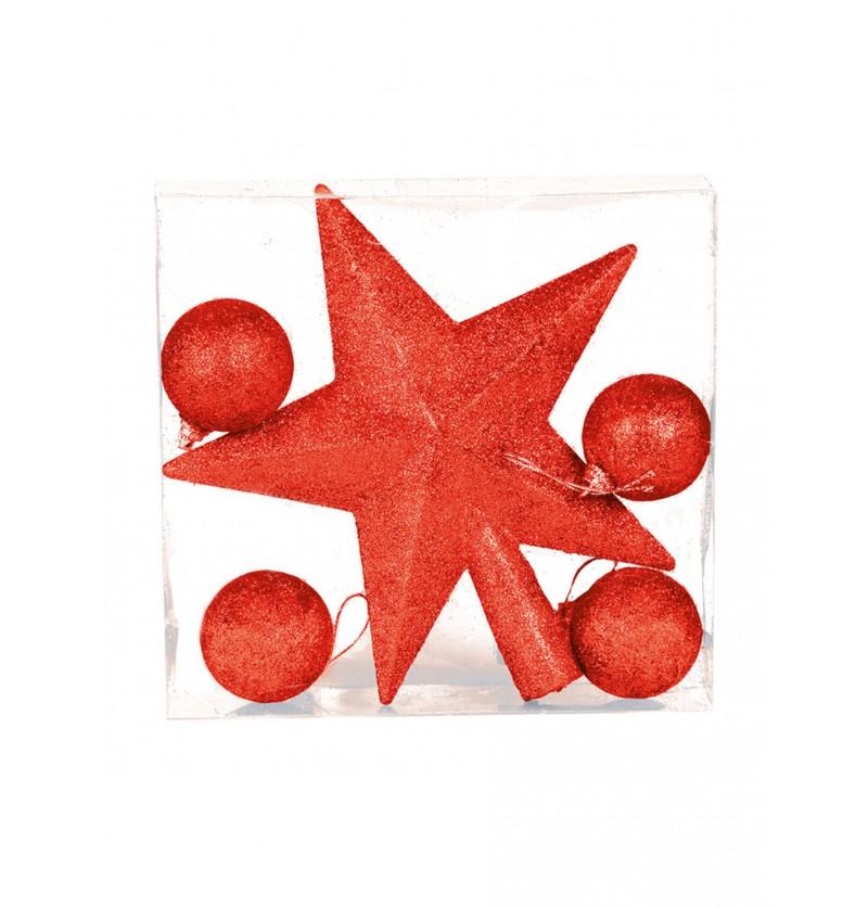 estrella y bolas navideas rojas para rbol