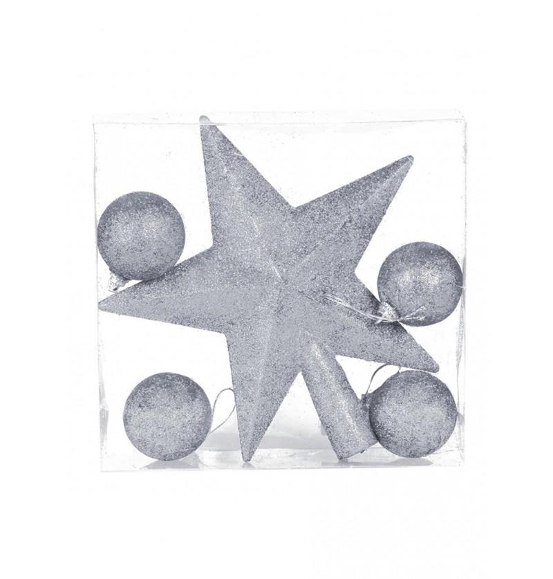 estrella y bolas navideas plateadas para rbol