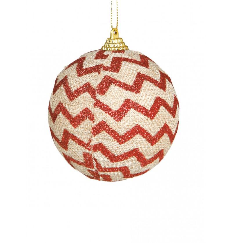 bola navidea decorada con rayas rojas
