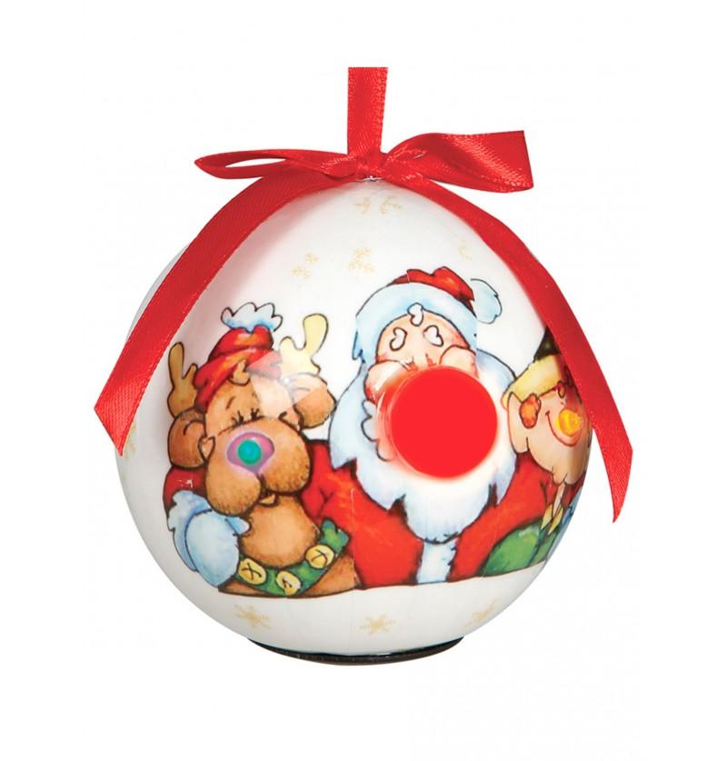 bola navidea blanca decorada con led