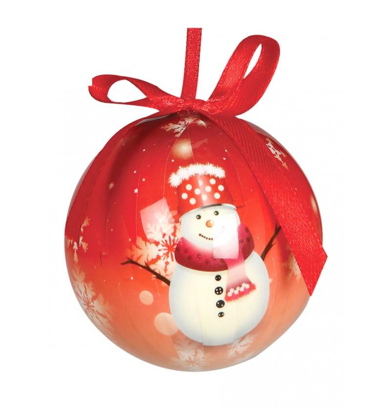 set de 6 bolas navideas rojas decoradas con mueco de nieve